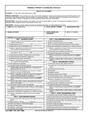 Fillable Online usarj army DD Form 1797, Personal Property ...