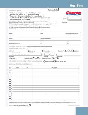 Fillable Online Costco Business Delivery Order Form Fax Email