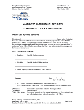 VIHA Confidentiality Agreement Form   Uvic  Confidentiality Agreement Template Word