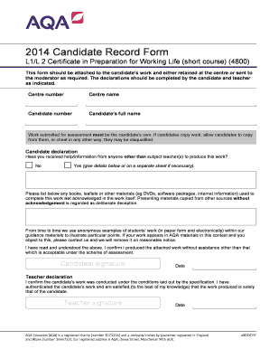 aqa preparation for working life 4800 candidate record sheet form