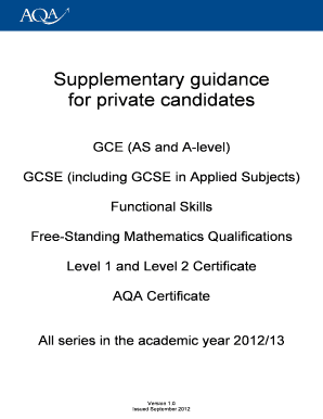 aqa supplementary guidance for private candidates 2013 2014 form