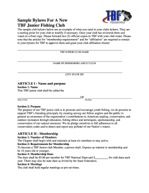 sample bylaws for school fishing club fill online printable
