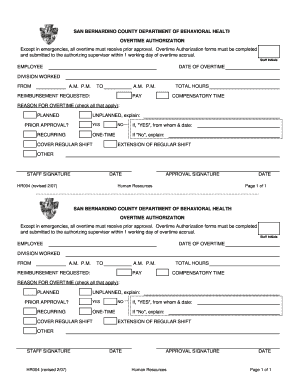 overtime pre approval form - Editable, Fillable & Printable Legal ...