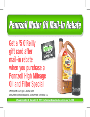 Pennzoil rebate 2017 fill online printable fillable for Printable motor oil coupons 2017
