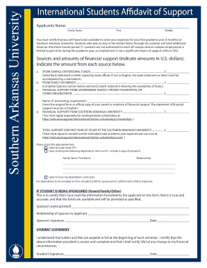 Affidavit form for southern arkansas university pdf
