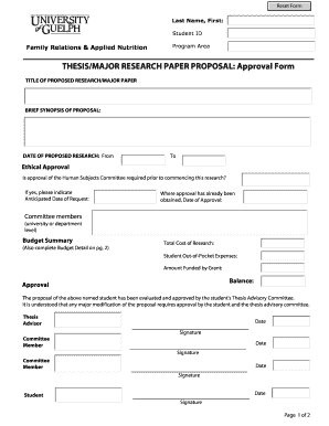 THESIS/MAJOR RESEARCH PAPER PROPOSAL: Approval Form - uoguelph