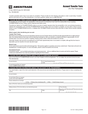Fillable Online TD Ameritrade Account Transfer Form Fax Email ...