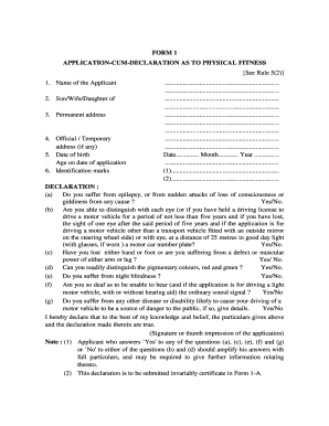 application cum declaration as to physical fitness