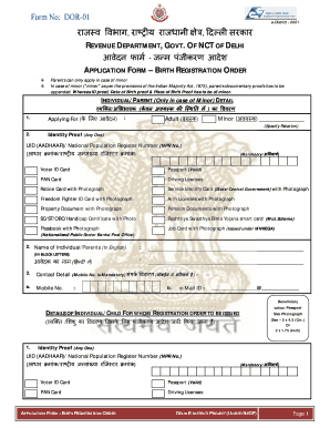 birth certificate online delhi form