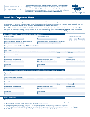 fillable online sro vic gov land tax objection form state revenue office victoria sro vic gov fax email print pdffiller