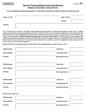 DPLS Medical Information Consent Form   Devon County Council  Free Child Medical Consent Form