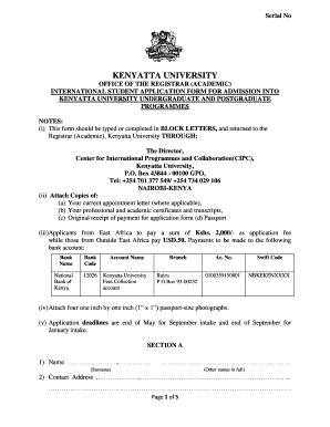 Kenyatta University Admision Letter - Fill Online, Printable