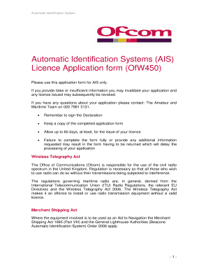 Fillable Online licensing ofcom org (AIS) Application Form