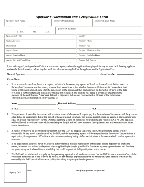 Sponsor Nomination And Certification Form - Fill Online, Printable ...