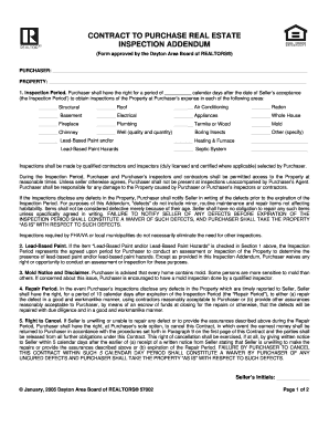 Fillable Online Contract To Purchase Real Estate Inspection Addendum