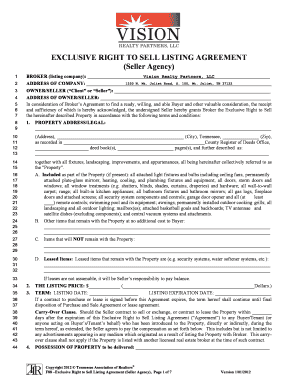Fillable Online EXCLUSIVE RIGHT TO SELL LISTING AGREEMENT (Seller ...