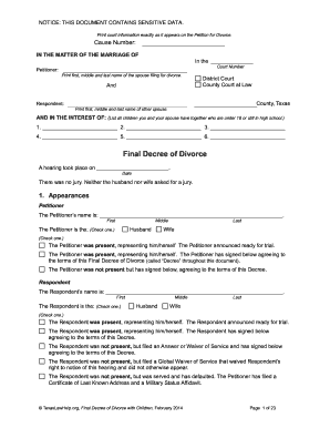Texas Final Decree Of 2014 2018 Form  Divorce Decree Sample