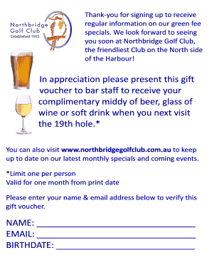 In appreciation please present this gift voucher to bar