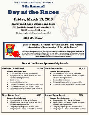 Fire Marshal Association of Louisianas 5th Annual Day at the Races Friday, March 13, 2015 Fairground Race Course and Slots 1751 Gentilly Boulevard, New Orleans, LA 70119 12:00 p - lafiremarshal