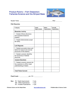 Fillable online mathinscience product rubric fish dissection fill online ccuart Choice Image