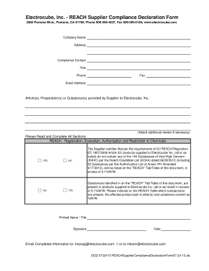 BElectrocubeb Inc - REACH Supplier Compliance Declaration Form Fill ...