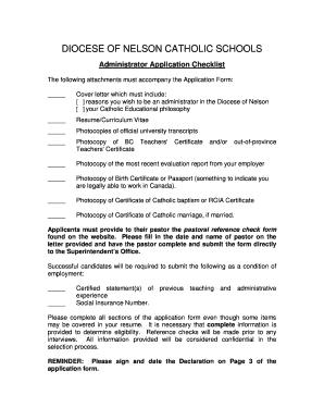 Fillable Online cisnd Administrator Application Checklist ...
