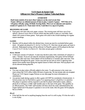 Submit official volleyball rules Form Templates Online in
