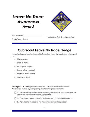 photo regarding Leave No Trace Printable named Fillable On the web cubsource Marbles worksheet Cub Scout