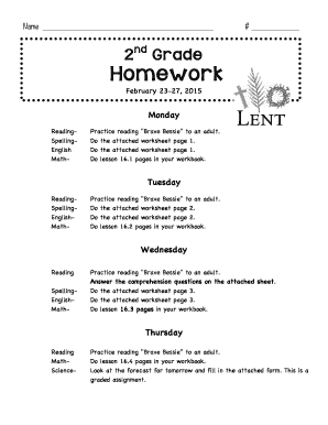 Fillable Online Ourladyofthelakeschool 2nd Grade Homework Our Lady
