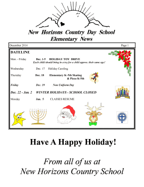 New Horizons Country Day School - Elementary School Calendar December 2014 New Horizons Country Day School - Elementary School Calendar December 2014