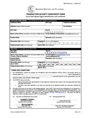 Fillable Online Bsp Gov Transaction Security Agreement Form