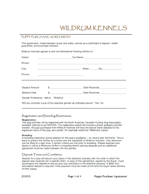 Puppy Deposit Contract Forms And Templates Fillable Printable Samples For Pdf Word Pdffiller