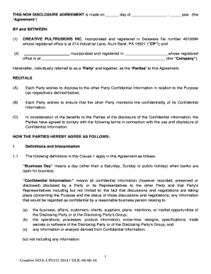 Confidentiality Agreement (mutual)   Creative Pultrusions, Inc.