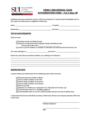 Leave Authorization Form | Fillable Online Help Suu Family And Medical Leave Authorization Form