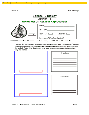 Asexual reproduction related words worksheet