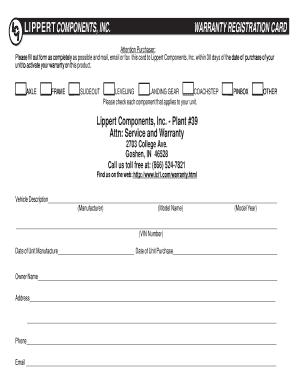 Fillable Online Warranty Registration Card - Lippert