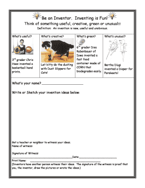 Fillable Online Young Inventors Worksheet- Getting An Idea