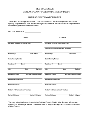 Printable marriage license michigan oakland county Form to