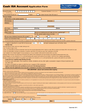 Fillable Online Cash ISA Account Application Form
