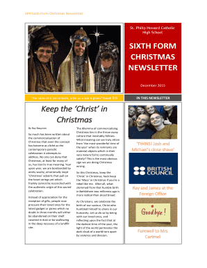 To download the Sixth Form Christmas Newsletter - St Philip Howard - sphcs co