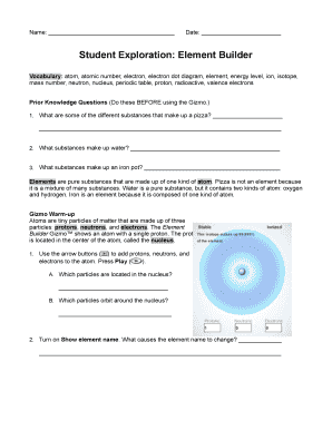 student exploration element builder Fillable Online Student Exploration Element Builder - Eden High Fax ...