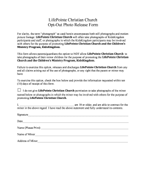 Opt-Out Photo Release Form - bLifePointeb Christian Church