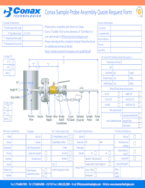 Fillable Online Conax Sample Probe Assembly Quote Request Form Fax