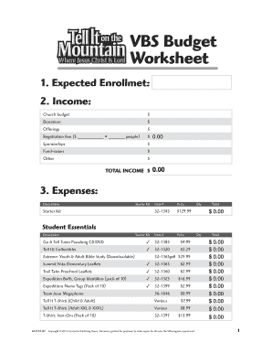 VBS Budget Worksheet - Concordia Supply