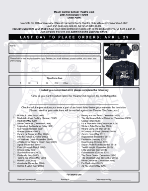 20th Anniversary T-Shirt Order Form
