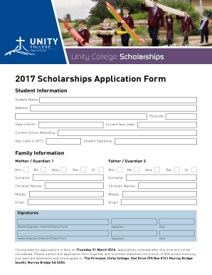 2017 Scholarships Application Form - Unity College - unitycollege sa edu