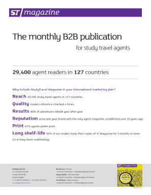 Fillable Online studytravel The monthly B2B publication