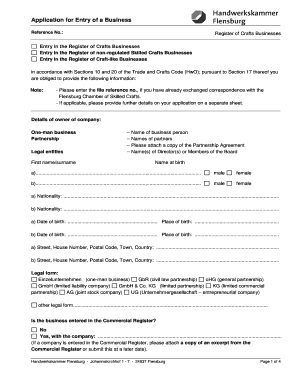 BApplicationb For Entry Of A Business   Handwerkskammer Flensburg