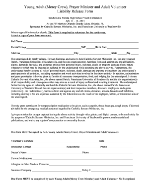 2014 Volunteer Liability Release Form   Steubenville Florida