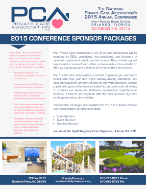 Fillable Online privatecare 2015 cOnFerence spOnsOr pacKaGes ...